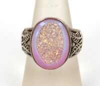 VINTAGE / QUALITY / GLITTERING PINK INDIAN MADE STERLING SILVER DRUZY RING.