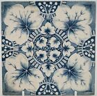 VICTORIAN FIREPLACE TILE GEORGE MARSDEN BLUE FLORAL TRANSFER PRINT C1891