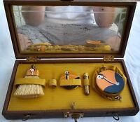 Antique Austrian Art Deco Enamel over  Metal Vanity Travel Set w/ Leather Case