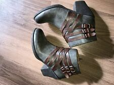 Women's EURO SOFT PHOEBE Gray/Brown High Heel Fashion Dress Ankle Boots 8.5