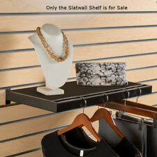 Black Slatwall Shelf 24 W x 12 D Inches with Hangrail