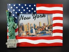 New york photo frame statue freedom with the us, 20cm poly flag