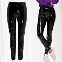 Damen Leggings Lack Optik Wetlook Hose Skinny Glanz Stretch Coated Röhre