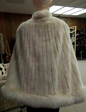 Golden Frost Mink with Fox Fur Cape Stole; USA furs; Clearance!