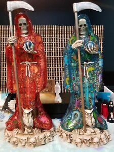 Santa Muerte 13 Inch Blue Translucent Statue Resin Curada Holy Death Fixed