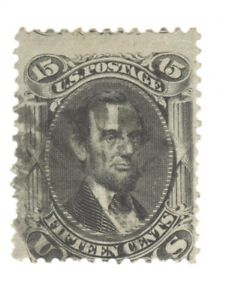 Scott 77 Early US Stamp 15c Lincoln ...1861-62.  Black Cancel
