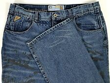 Akademiks Mens Jeans Size 36 x 32 Relaxed Blue Denim Baggy with Graphics