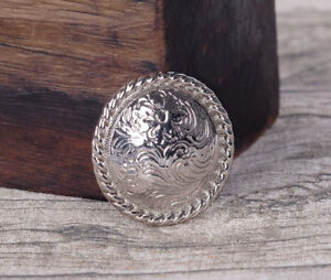 """1-1/2"""" SET 6 WESTERN SADDLE BRIGHT SILVER ENGRAVED FLORAL CONCHO screw back"""