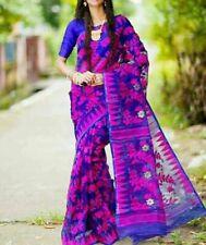 Purple Cotton Sari Blouse Traditional Handloom Hand Woven Jamdani Indian Saree