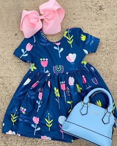 Spring Floral Twirl Dress With Pockets Boutique Dress NWT FREE Bow, All Sizes