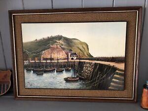 Vintage Kevin Platt Framed Print - Scarborough Harbour