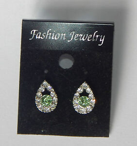 Silver Coloured Clear and Green Crystal Droplet Stud Earrings
