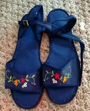 Girl's Chinese Floral Cotton Shoes Slippers Sandals Navy - Size 34 US 3 New