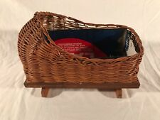 Vintage Post WWII 1940s Rattan Wicker Doll Crib Rocking Bassinet ~ Japan