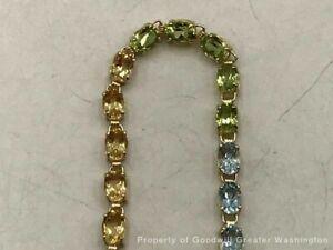 "Gemstone Bracelet 14K YG 6.4gr  AMMTHIST- PERIDOT- TOPAZ-CITRINE 7"""