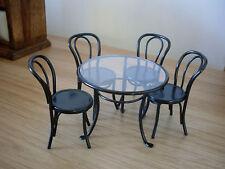 Dollshouse Miniature ~ Noir ~ patio table et 4 chaises set