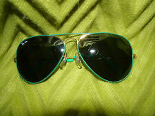 Vintage RAY-BAN B&L FLYING COLORS AVIATOR GREEN/GOLD SUNGLASSES 5814 UNISEX~RARE