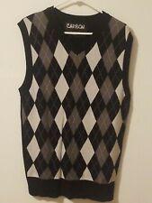 Carbon Plaid Knitted Vest Mens Sleeveless Sweater V Neck Knitwear White Black