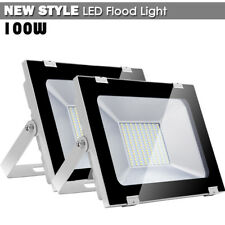 2x 100W LED Flood Light Cool White Outdoor Lighting Spotlight Garden Yard Lamp