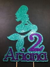 Glitter Mermaid  Cake Topper with Name and Birthday number