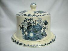 Rare MASON'S Ironstone Blue FRUIT BASKET CHEESE CAKE DOME & PLATE for HARRODS