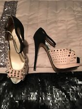 Miss Selfridge Tan Beige Spike Stud High Heel Platform Stilettos Shoes Size 3 36