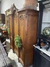 Antique French Louis XV style oak wardrobe, 3 piece, farmhouse, ornate