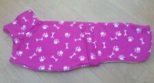 Greyhound / whippet dog fleece coat 24inch 61cm pink paw print   double layer