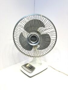 "VTG Galaxy Oscillating 12"" Fan 3 Speed Grey/White. Condition Is Used. Tested"