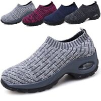 Women's Thick Air Cushion Sneakers Breathable Mesh Walking Slip-On Running Shoes