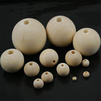 6-30mm Round Wooden Beads Hole Balls Natural Plain Crafts Jewelry Making