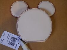 NWT Coach White Mickey Mouse Ears Leather Coin Purse F59071