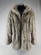 Neiman Marcus Faux Fur Coat Medium White Gray