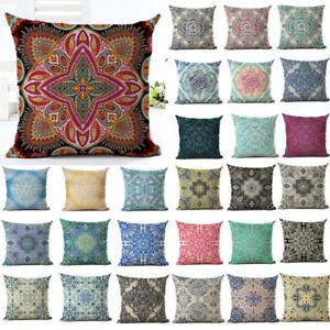 18'' Vintage Bohemia Pattern Pillow Case Cotton Linen Cushion Sofa Cover Decor
