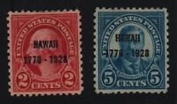 1928 HAWAII commemorative Sc 647 648 MHR VF 2c and 5c set