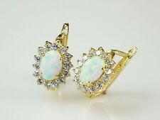 585 Gold Ohrringe mit Klappverschluß  mit ovalen Opal Steinen
