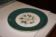 "The Harker Pottery Co. DINNER Plate 10 1/4"" 22K Gold Trim WHITE ROSE"
