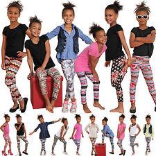 K100 Kinder Leggins Hose Jeans-Aztec-Look Leggings Jeggings Flagge Treggings
