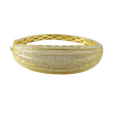 Gold Plated Sterling Silver White Pave CZ Layered Womens 60mm Bangle