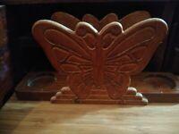 Vintage Butterfly Carved Wood Napkin And Salt And Pepper Shaker Holder