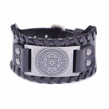 Thor's Hammer Runes Celtic Knot Trinity Design Wide Leather Bracelet for Men