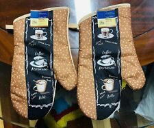 Home Collection Kitchen Oven Mitts Mittens Coffee. Lot of 2. A+Seller.