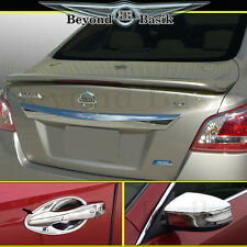 Fits 13-15 NISSAN ALTIMA Spoiler+Chrome Door Handle Bowl+Mirror Covers Overlays
