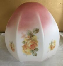 Vintage Antique Art Deco White & Pink Floral - Yellow Roses Glass Lampshade