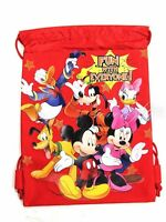 Disney Mickey & Family Drawstring String Backpack Sling Tote Bag - Red
