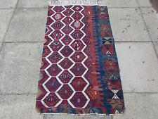 Antique Fragment Hand Made Traditional Turkish Oriental Red Wool Kilim 142x84cm