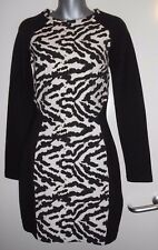 H&M black & cream quality animal print l/s illusion thick dress size 10 nwot
