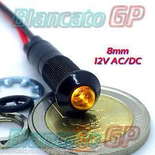SPIA LED GIALLO 12V DC NERA TONDA 8mm IP67 per auto moto camper nautica cavi PVC