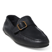 $495 Ralph Lauren Mens Rael Venetian Black Leather Italy Loafer Driver Shoes NIB