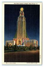 Postcard The State Capitol at Night, Baton Rouge LA linen 1950 L35